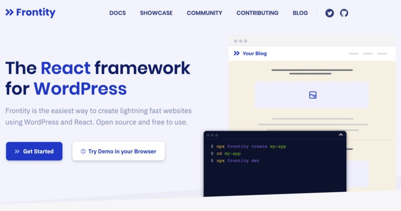 The Frontity React framework website.