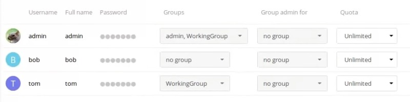 The User List within Nextcloud.