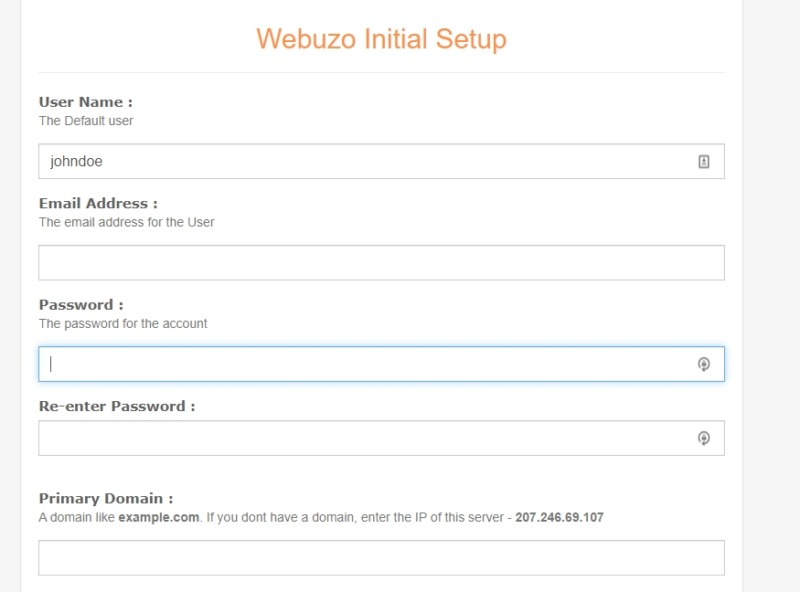 The Webuzo browser.