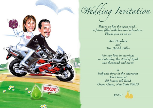 Motorcycle theme funny wedding invitations