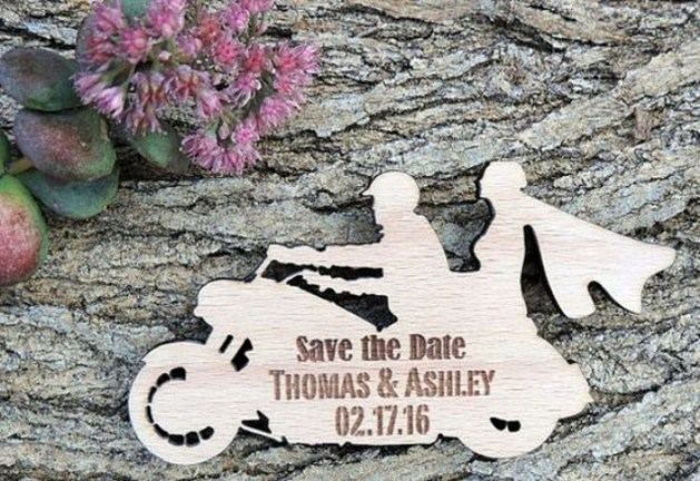 Motorcycle theme save the date cards