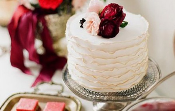 Marsala Theme Wedding Cake