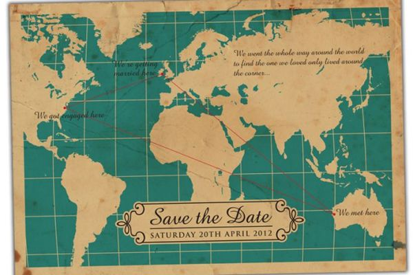 Folded Map Wedding Cards - A2zWeddingCards