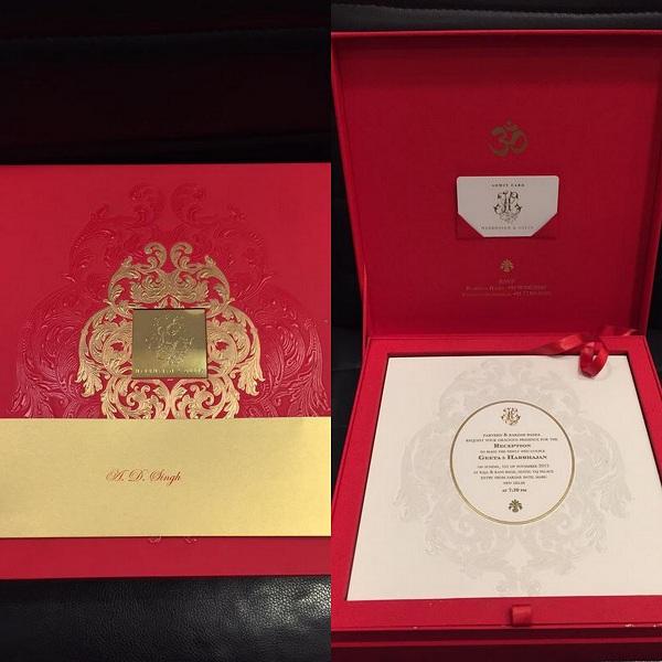 Harbhajan Singh - Geeta Basra Wedding Cards