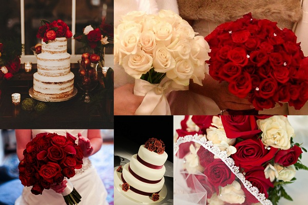 Valentines Theme Wedding Cakes and blossoms - A2zWeddingCards