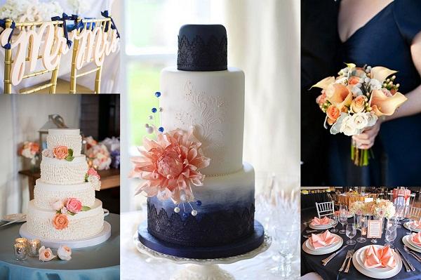 Navy Blue and Peach Wedding Cake nad table decor - A2zWeddingCards