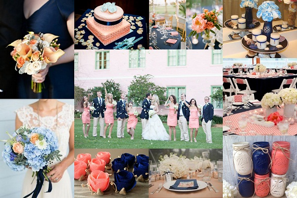 Navy Blue And Peach Wedding Theme Wedding Cards A2zweddingcards