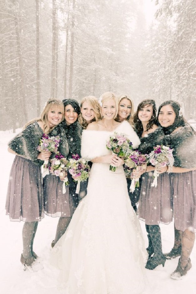 gray dresses with gray faux fur wraps