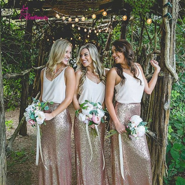 bridesmaid could wear golden skirts