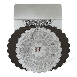SILVER SHIMMERY FLORAL THEMED - EMBOSSED WEDDING CARD : AIN-8238A-A2zWeddingCards