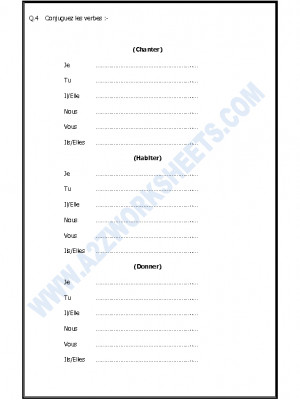 A2Zworksheets: Worksheets of French Practice Worksheets
