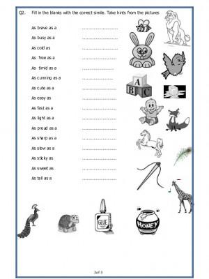 A2Zworksheets: Worksheets of Similes-Grammar-English