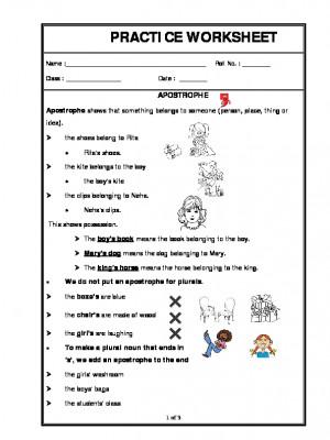 A2Zworksheets: Worksheets of Apostrophe-Grammar-English