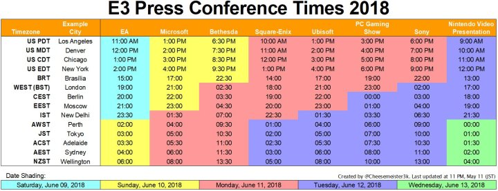 updated worldwide timetable of #E3 2018 press conferences so far
