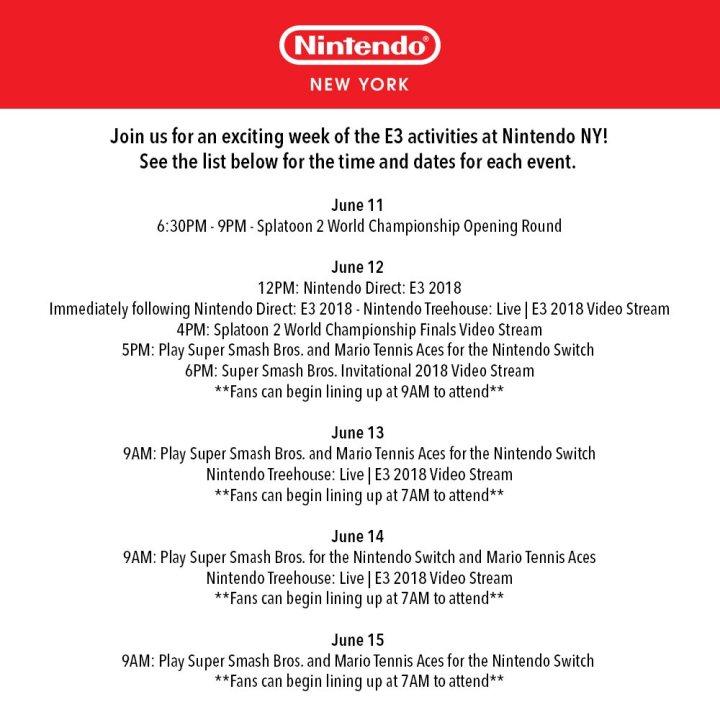 Nintendo NY Store E3 Activities Infographic