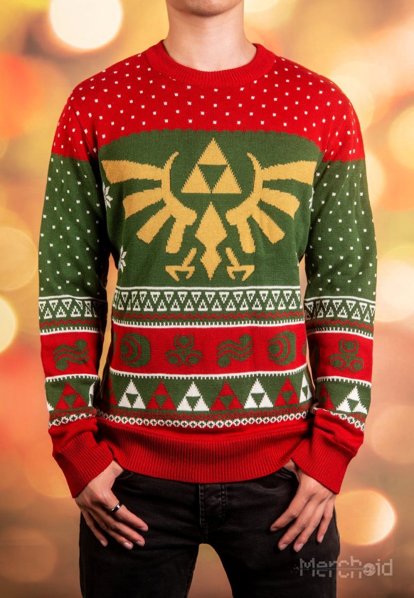 legend of zelda wreath of the wild knitted christmas sweater