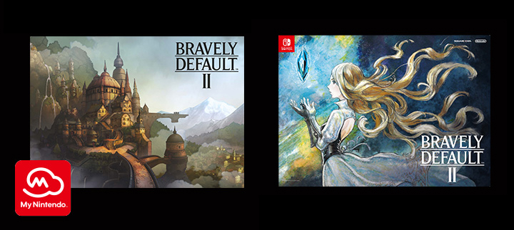 "My Nintendo BRAVELY DEFAULT II reward: a beautiful 18"" x 24"" reversible poster which features Gloria on the front and Halcyonia, the Kingdom of Spring Breeze, on the back"