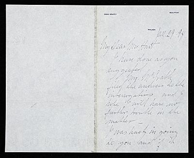 Charles Grafly, Philadelphia, Pa. letter to Charles Henry