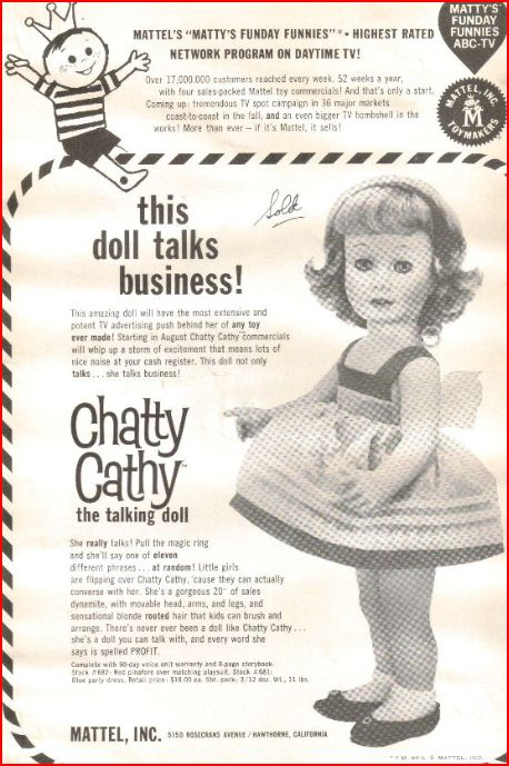 Image result for chatty cathy doll 1960