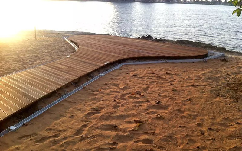 curve cutting of outdoor timber decking