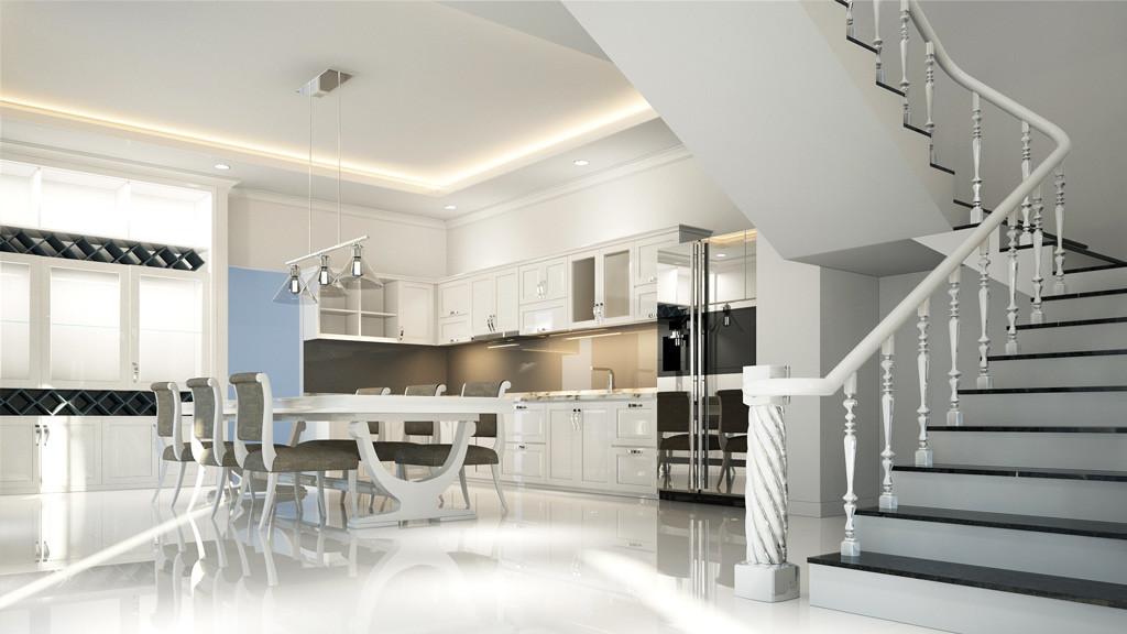 Open kitchen 3D design for villa interior works in Dubai
