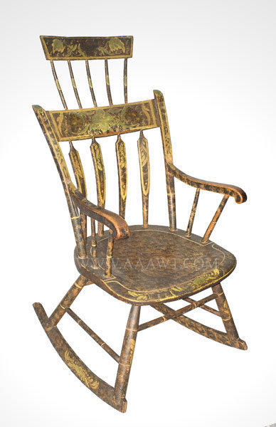 rocking chair height upholstered dining room comb back original paint and decoration new england circa 1825 sold