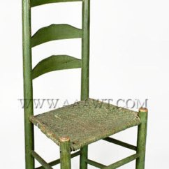 Shaker Ladder Back Chair Stool Cad Block Antique Furniture Chairs Early Country Pilgrim American Old Green Paint 19th Century Maple With Original Rush Splint Seat Sold