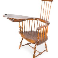 Antique Windsor Chairs Office Chair Model Furniture Early Pilgrim American Comb Back Writing Arm Branded E B Tracy Lisbon Connecticut Circa 1780 To 1800 Rarely Found Intact Retains Original Drawer Sold