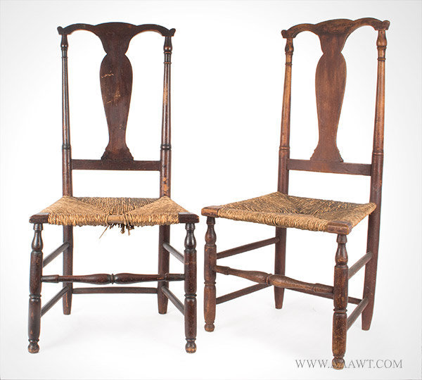 antique queen anne chair exercise upside down furniture chairs early pilgrim american pair of fiddle back side 19th century view