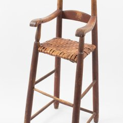 High Chair Wooden Legs Metal Leg Floor Protectors Antique Furniture Childs Miniature Highchair Ladder Back Splayed Original Red Paint Wonderful Surface New England Circa 1780 To 1800 Maple And Ash Sold