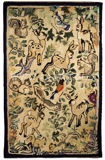 Antique Textiles_Rugs Hooked Rugs Mats Frost Folk Art Rugs