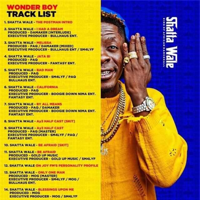 Shatta wale unveils his tracklist for his wonder Boy album