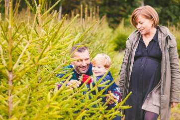 picture of a family in a Christmas tree (or xmas tree) farm