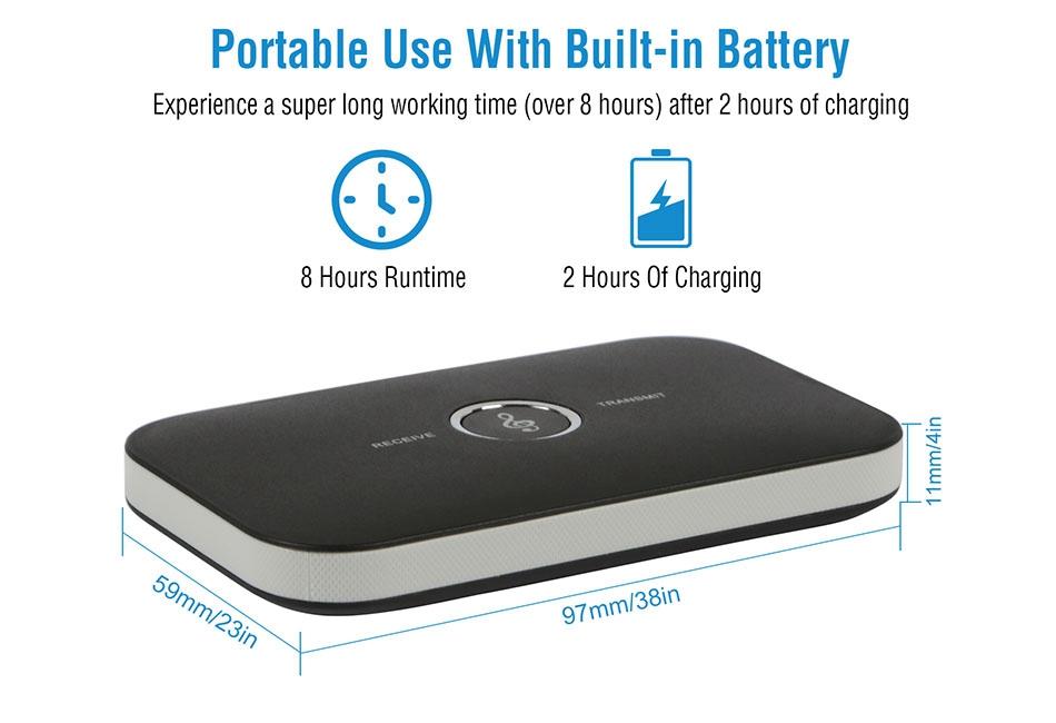 2 in 1 Wireless Bluetooth Audio Transmitter Receiver HIFI