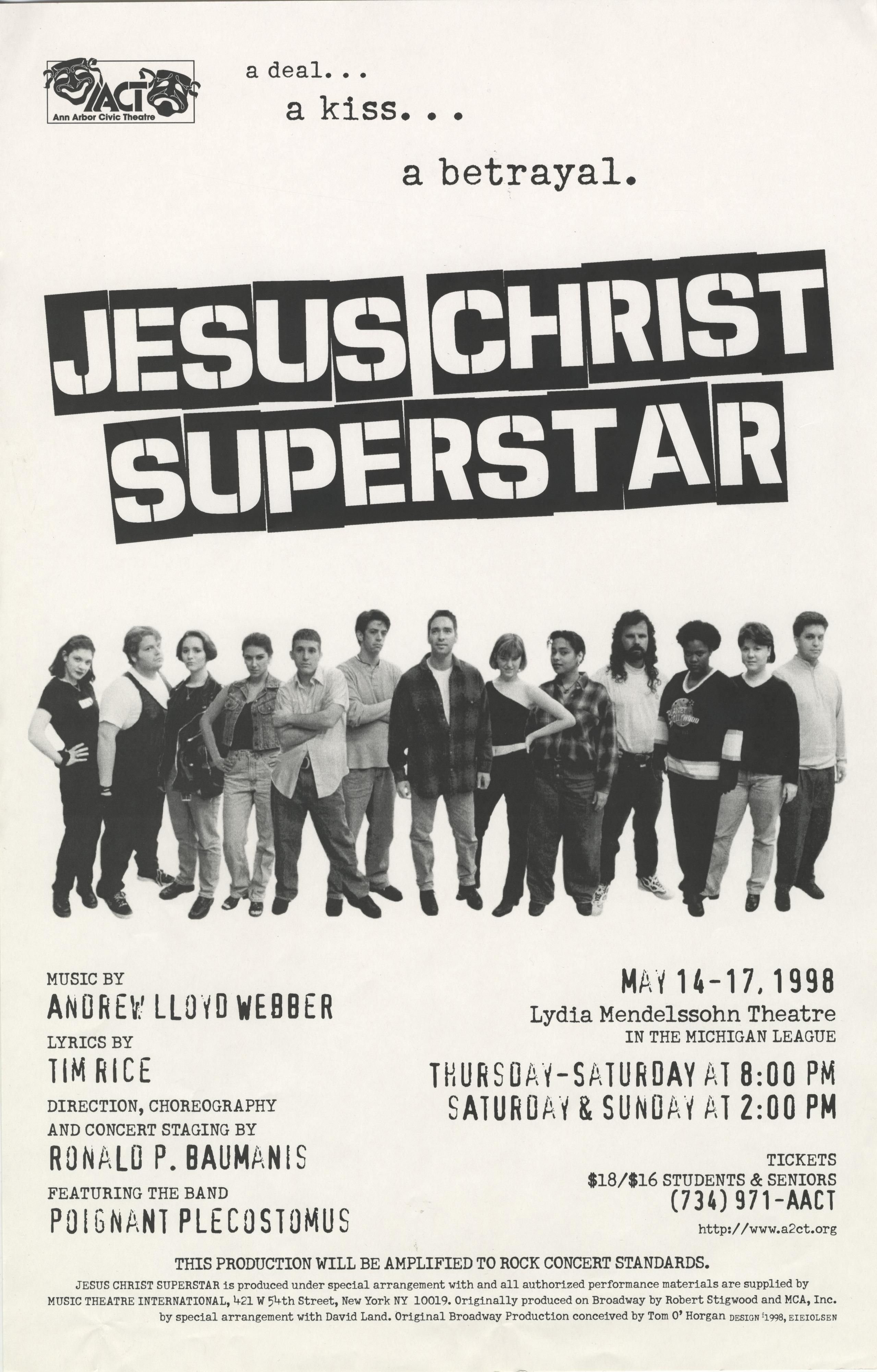 Ann Arbor Civic Theatre Poster: Jesus Christ Superstar