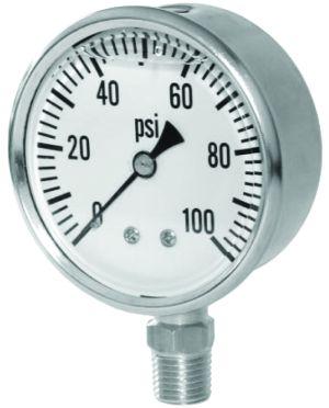 """2.5"""" Glycerin Filled Pressure gauge-bottom mount, 0-2000 PSI"""
