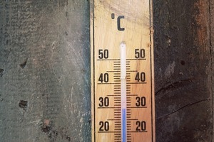Image of wooden thermometer showing 30 degrees C