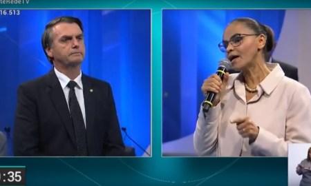 Debate na RedeTV!: Bolsonaro apanha, mas só porque ele chamou Marina para o confronto. Foto: Reprodução/RedeTV!