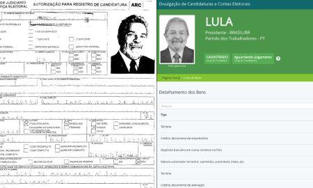 Montagem com patrimônio declarado por Lula em 2002 e 2018
