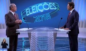 Ciro e Haddad no debate da Globo: acomodação. Foto: Reprodução/TV Globo