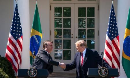 Trump e Bolsonaro no Rose Garden: Brasil globalista na OCDE e na Otan. Foto: Donald Trump/Instagram