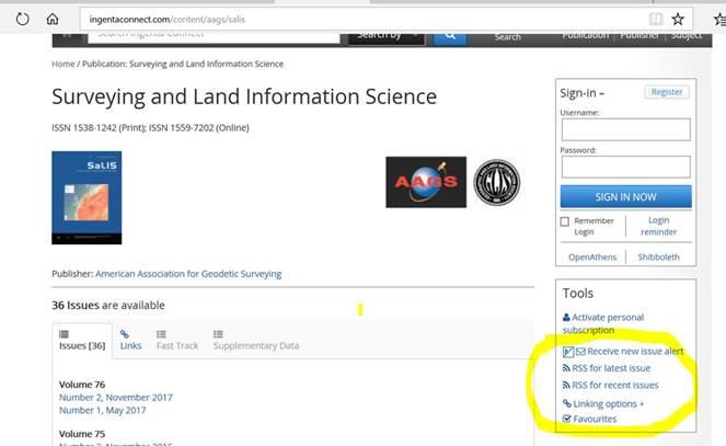 Register For Surveying and Land Information Science (SaLIS) Journal Alerts