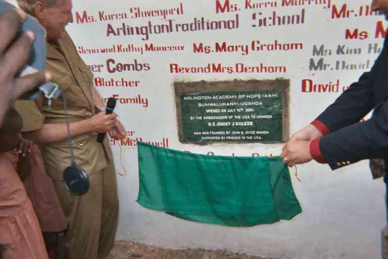 unveiling of plaque at arlington junior school