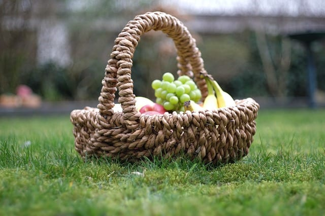 picnic basket with green grapes