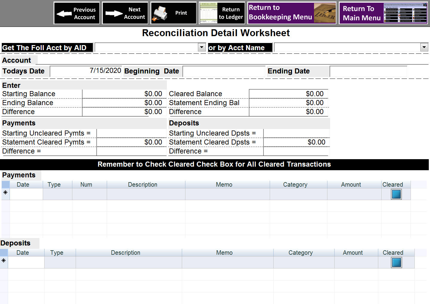 Antique Mall Software Bank Reconciliation Worksheet