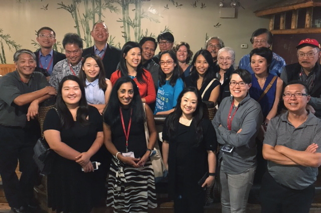 The 2017 AAJA Convention. Group dinner at Banana Leaf Malaysian Cuisine with Mike Yamashita, James Yee, Michael Quan, Echo Lu, Crystal Wong, Chang W. Lee, Jim Cheng, Darrell Miho, Susan Choi, Connie Yu and Richard Yeh at Banana Leaf Malaysian Cuisine.