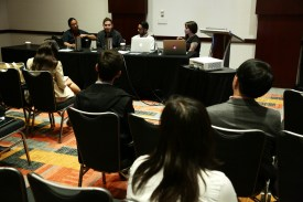 The 2017 AAJA Convention in Philadelphia. Lessons From Photographing Standing Rock panel with Richard Tsong-Taatarii, Angus Mordant, Josh Morgan and Ariel Zambelich. Photo by Alex Wong