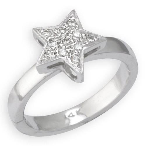AampA Jewelry Supply 14k White Gold Star Shape Toe Ring W
