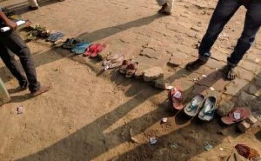 slippers in queue instead of people outside bank