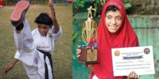 ayesha noor is a karate champion and wins gold medal at international level